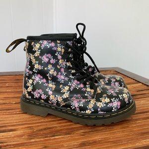 Kids Doc Marten Floral Zip/Lace Up Boots 9